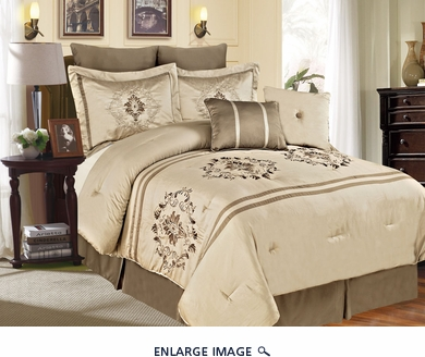 12 Piece Queen Pescia Beige and Taupe Bed in a Bag w/600TC Cotton Sheet Set