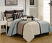 12 Piece Queen Picasso Blue Bed in a Bag w/500TC Cotton Sheet Set