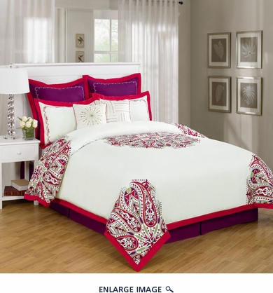 12 Piece Queen Richwood Red and White Bed in a Bag w/500TC Cotton Sheet Set