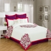 12 Piece Queen Richwood Red and White Bed in a Bag w/600TC Cotton Sheet Set