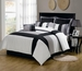 12 Piece Queen Serene Black and Gray Bed in a Bag w/500TC Cotton Sheet Set