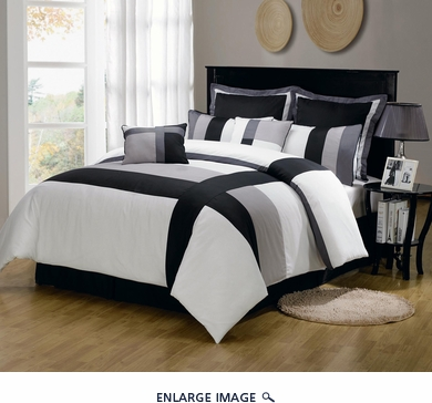 12 Piece Queen Serene Black and Gray Bed in a Bag w/600TC Cotton Sheet Set