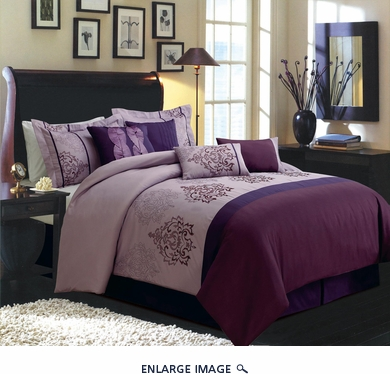 12 Piece Queen Vanessa Purple and Plum Embroidered Bed in a Bag Set