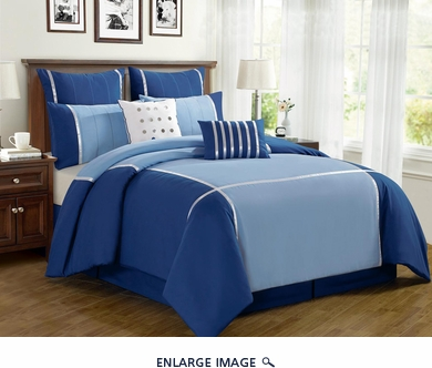 12 Piece Queen Vienna Blue Bed in a Bag w/600TC Cotton Sheet Set