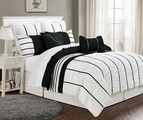 12 Piece Queen Villa Black and White Bed in a Bag w/600TC Cotton Sheet Set