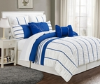 12 Piece Queen Villa Blue and White Bed in a Bag w/600TC Cotton Sheet Set
