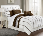 12 Piece Queen Villa Coffee and White Bed in a Bag w/600TC Cotton Sheet Set