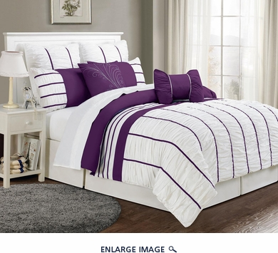 12 Piece Queen Villa Purple and White Bed in a Bag Set