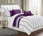 12 Piece Queen Villa Purple and White Bed in a Bag w/600TC Cotton Sheet Set