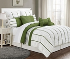 12 Piece Queen Villa Sage and White Bed in a Bag w/600TC Cotton Sheet Set