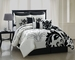 13 Piece Cal King Arroyo Black and White Bedding Bed in a Bag w/500TC Cotton Sheet Set