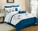 13 Piece Cal King Cremon Diva Blue and White Bed in a Bag Set