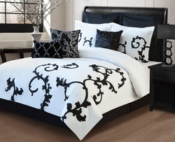 13 Piece Cal King Duchess Black and White Bed in a Bag Set
