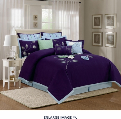 13 Piece Cal King Salzer Blue Bed in a Bag Set