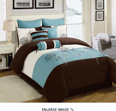 13 Piece Cal King Seda Blue/Coffee/Ivory Bed in a Bag Set