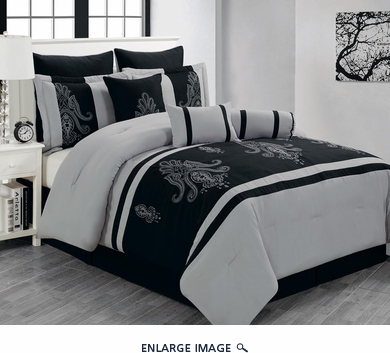 13 Piece Cal King Sherman Black and Gray Bed in a Bag Set