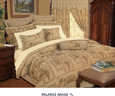 13 Piece Cal King Tapestry Palm Bed in a Bag
