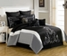 13 Piece King Blanche Black and Gray Bed in a Bag w/600TC Cotton Sheet Set