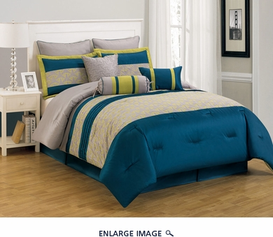 13 Piece King Carter Blue and Yellow Bed in a Bag Set