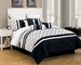 13 Piece King Randi Black and White Bed in a Bag w/600TC Cotton Sheet Set
