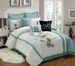 13 Piece King Rosella Aqua and White Bed in a Bag w/500TC Cotton Sheet Set