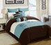 13 Piece King Seda Blue/Coffee/Ivory Bed in a Bag Set