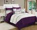 13 Piece King Westport Plum and Ivory Bed in a Bag Set
