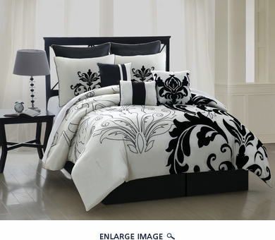 13 Piece Queen Arroyo Black and White Bedding Bed in a Bag w/500TC Cotton Sheet Set