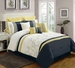 13 Piece Queen Begonia Yellow/Black/White Bed in a Bag w/500TC Cotton Sheet Set