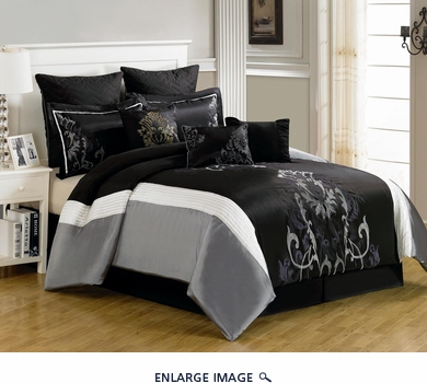 13 Piece Queen Blanche Black and Gray Bed in a Bag w/600TC Cotton Sheet Set