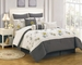 13 Piece Queen Carley Gray and Ivory Bed in a Bag Set