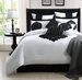 13 Piece Queen Copolla Black and White 100% Cotton Bed in a Bag w/600TC Cotton Sheet Set