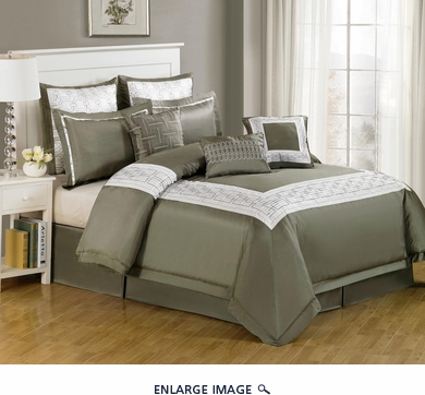 13 Piece Queen Dana Park Olive Bed in a Bag w/500TC Cotton Sheet Set