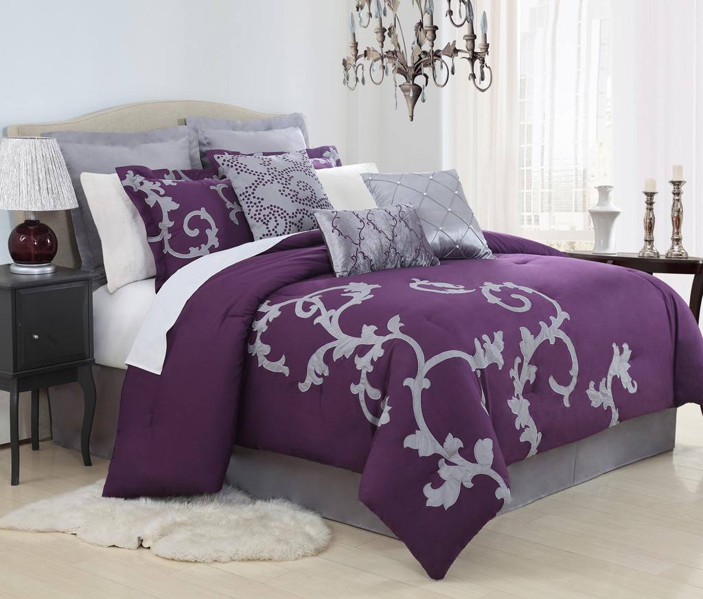 13 Piece Duchess Plum And Gray Bed In A Bag Set