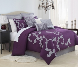 13 Piece Queen Duchess Plum and Gray Bed in a Bag Set