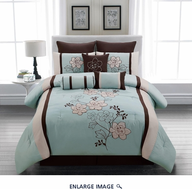 13 Piece Queen Hana Sky Blue Bed in a Bag Set