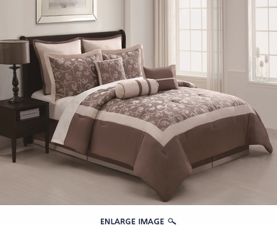 13 Piece Queen Karma Bed in a Bag w/600TC Cotton Sheet Set Taupe