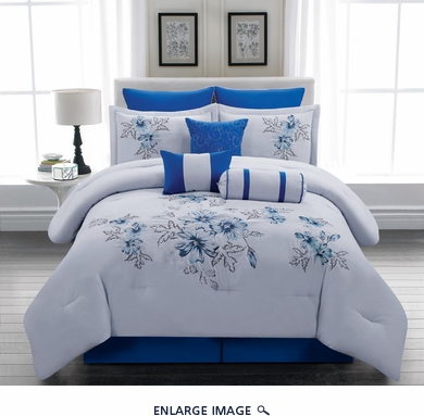 13 Piece Queen Linnea Blue Bed in a Bag Set