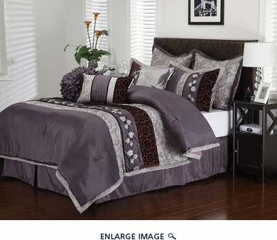13 Piece Queen Riley Purple Bed in a Bag Set