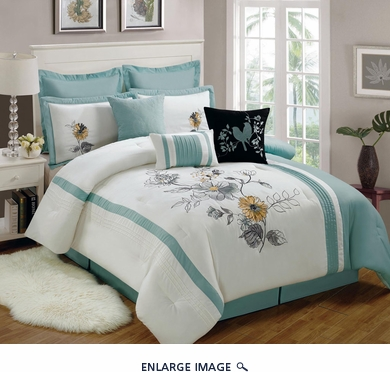 13 Piece Queen Rosella Aqua and White Bed in a Bag w/600TC Cotton Sheet Set
