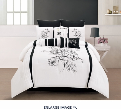 13 Piece Queen Rozlynn Black and White Bed in a Bag w/600TC Cotton Sheet Set