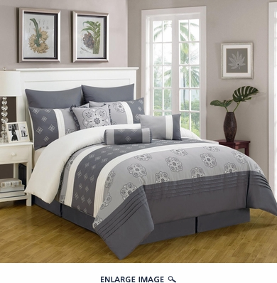 13 Piece Queen Sangamon Charcoal and Gray Bed in a Bag w/600TC Cotton Sheet Set