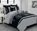 13 Piece Queen Sherman Black and Gray Bed in a Bag w/500TC Cotton Sheet Set