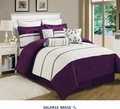 13 Piece Queen Westport Plum and Ivory Bed in a Bag Set