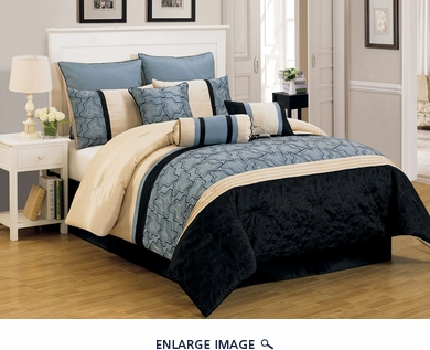 13 Piece Queen Yasmin Blue and Black Bed in a Bag Set