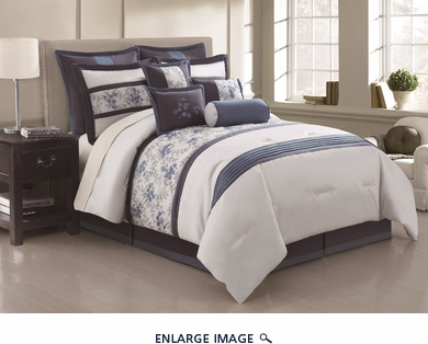 14 Piece Cal King Blossom Tree Blue and Gray Bed in a Bag Set