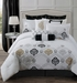 14 Piece Cal King Claibourne Black/White Bed in a Bag w/600TC Cotton Sheet Set