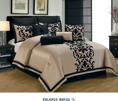 14 Piece Cal King Dawson Black and Gold Bed in a Bag Set