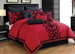14 Piece Cal King Dawson Black and Red Bed in a Bag Set