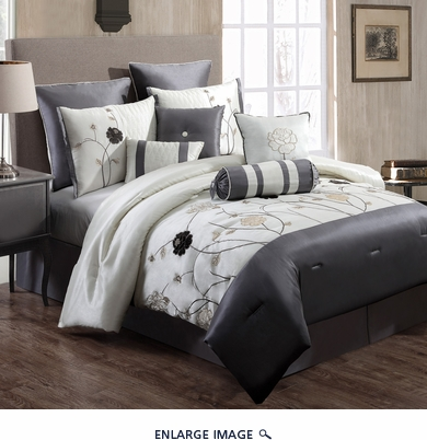 14 Piece Cal King Lourdes Ivory and Gray Bed in a Bag Set